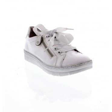 D5803-80 Ladies white and silver Remonte soft casual shoes