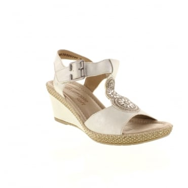 Remonte D0452-81 Ladies white combination Buckle sandals