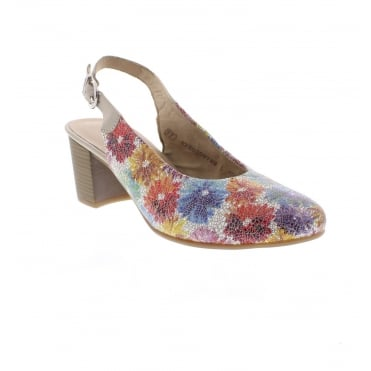 D0818-90 Ladies' Multi colour sling back shoes