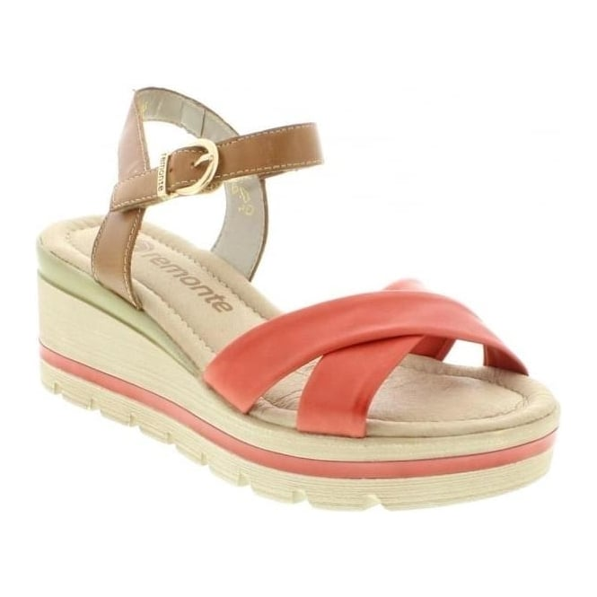 Remonte D1552-33 Ladies Red Velcro, Buckle sandals