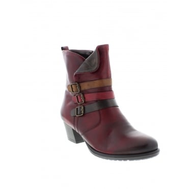 Remonte D3179-35 Ladies Red Combination Zipper ankleboots