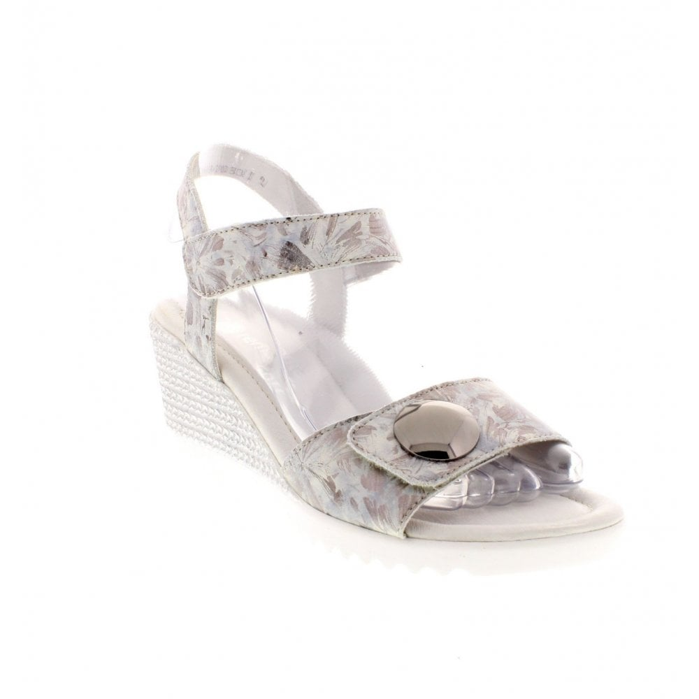 26ac365b6c79 Remonte D3464-42 Ladies Silver Combination Wedge Sandals - Remonte ...