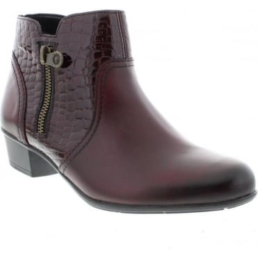 Remonte D3574-35 Ladies Red Combination Zipper ankleboots