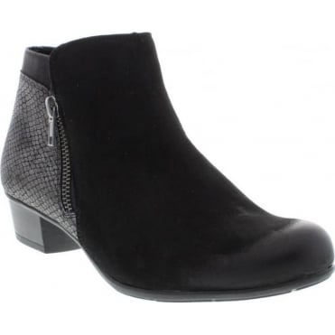 Remonte D3579-02 Ladies Black Combination Zipper ankleboots
