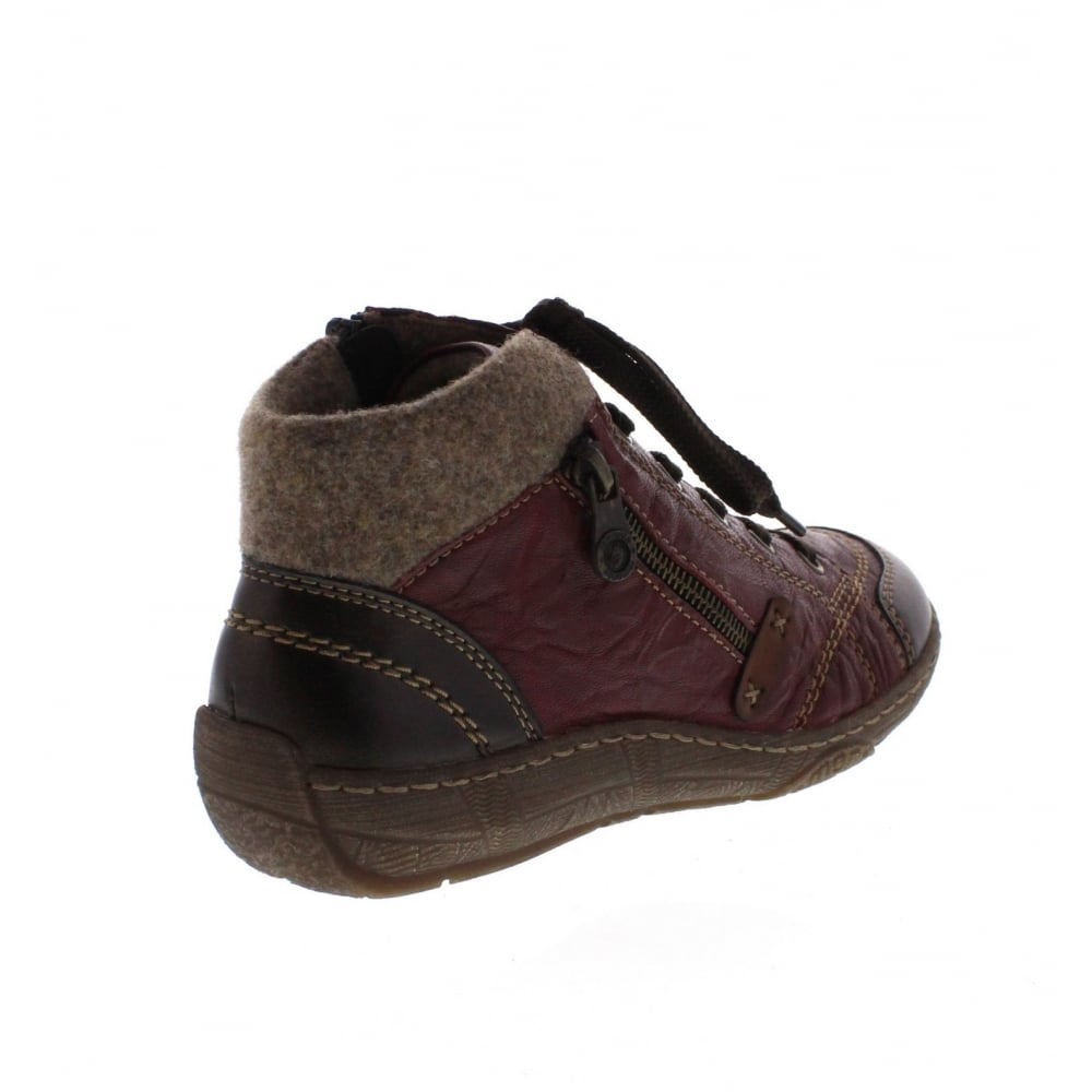 1ce29e04abef Remonte D3886-35 Ladies Red combination Zip ankle boots - Remonte ...