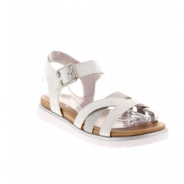 6869d4c19ee5 D4052-90 Ladies Silver Combination Sandals