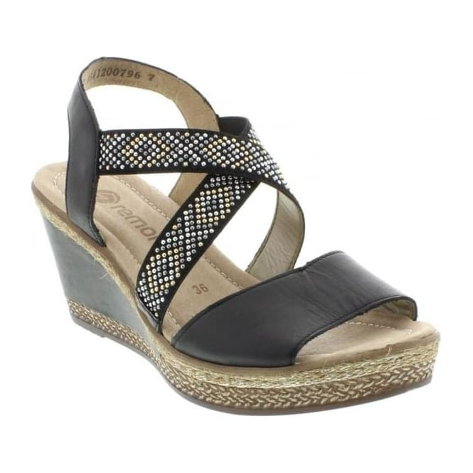 Remonte D4566-01 Ladies Black Sling Back sandals