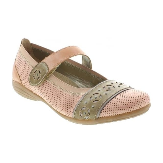 Remonte D4626-31 Ladies Pink Combination Velcro shoes