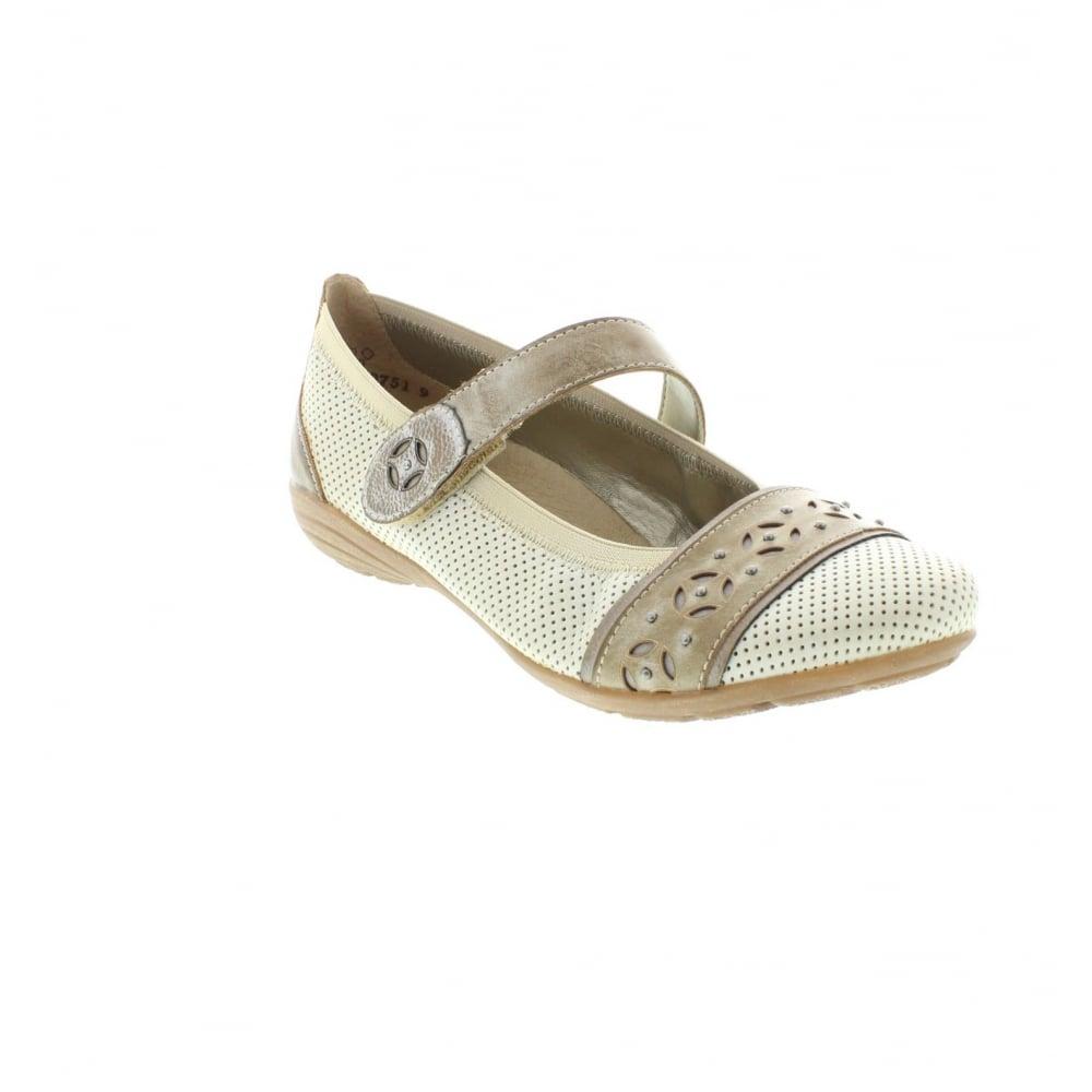 Remonte D4626 80 Ladies White Hook And Loop Shoes