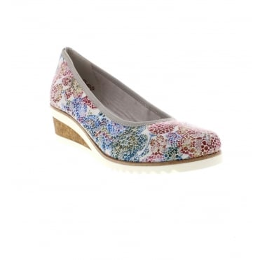 D5500-90 Ladies multi coloured wedges