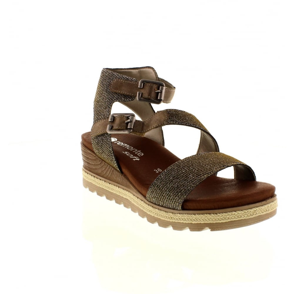 fb44fccd8668 Remonte D6351-90 Ladies Multi-coloured Metallic Buckle sandals - Remonte  Ladies from Rieker UK