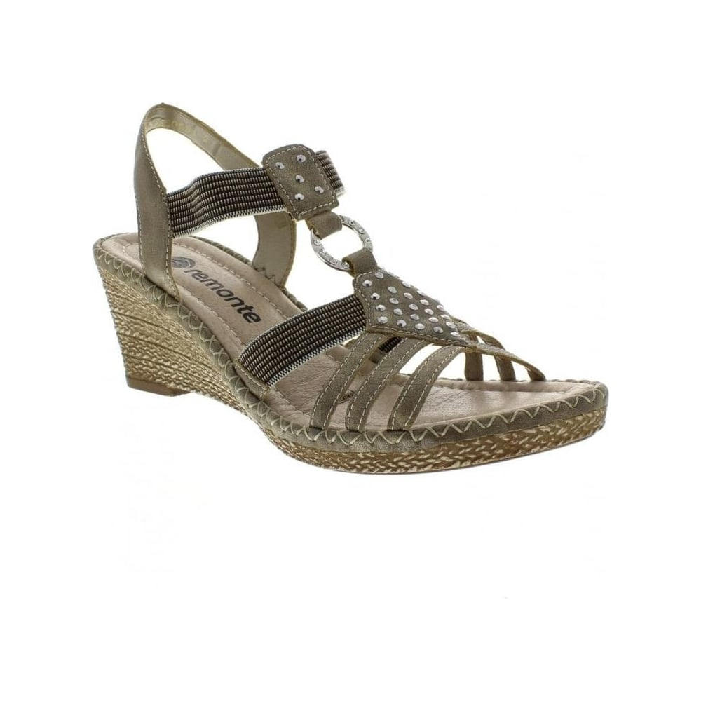 09f81064e894 Remonte D6768-90 Ladies Gold sandals - Remonte Ladies from Rieker UK