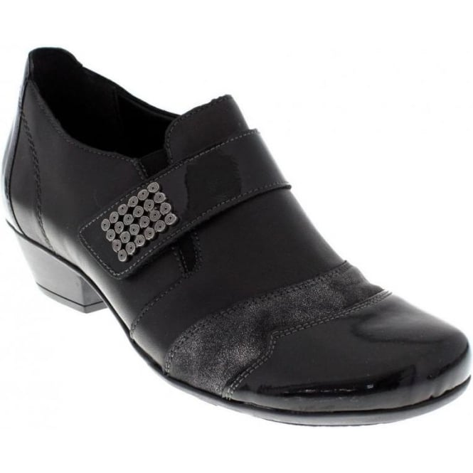 Remonte D7333-01 Ladies Black Combination Velcro shoes