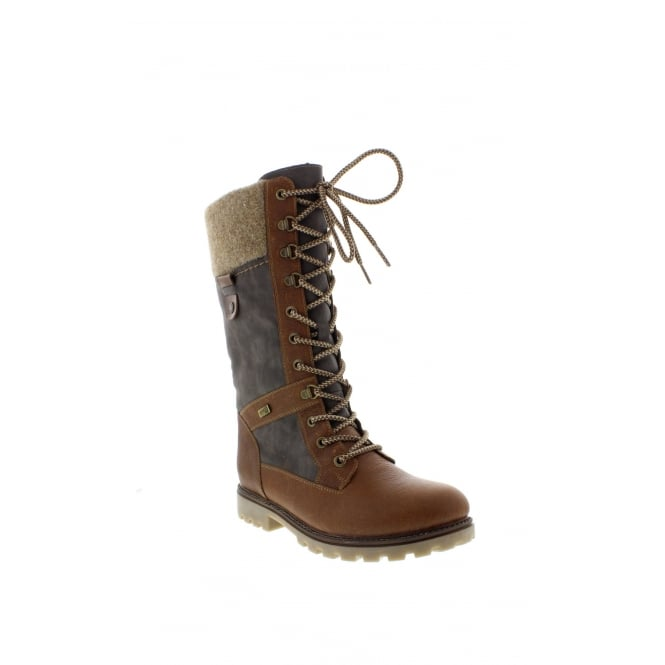 Remonte D7477-24 Ladies Brown Lace Up,Zipper boots