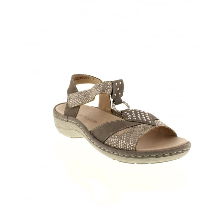 Remonte D7668-64 Ladies beige combination Velcro sandals