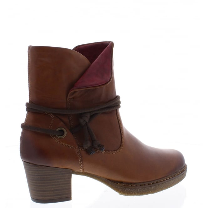 Remonte D8172-24 Womens brown and red tab top ankle boot