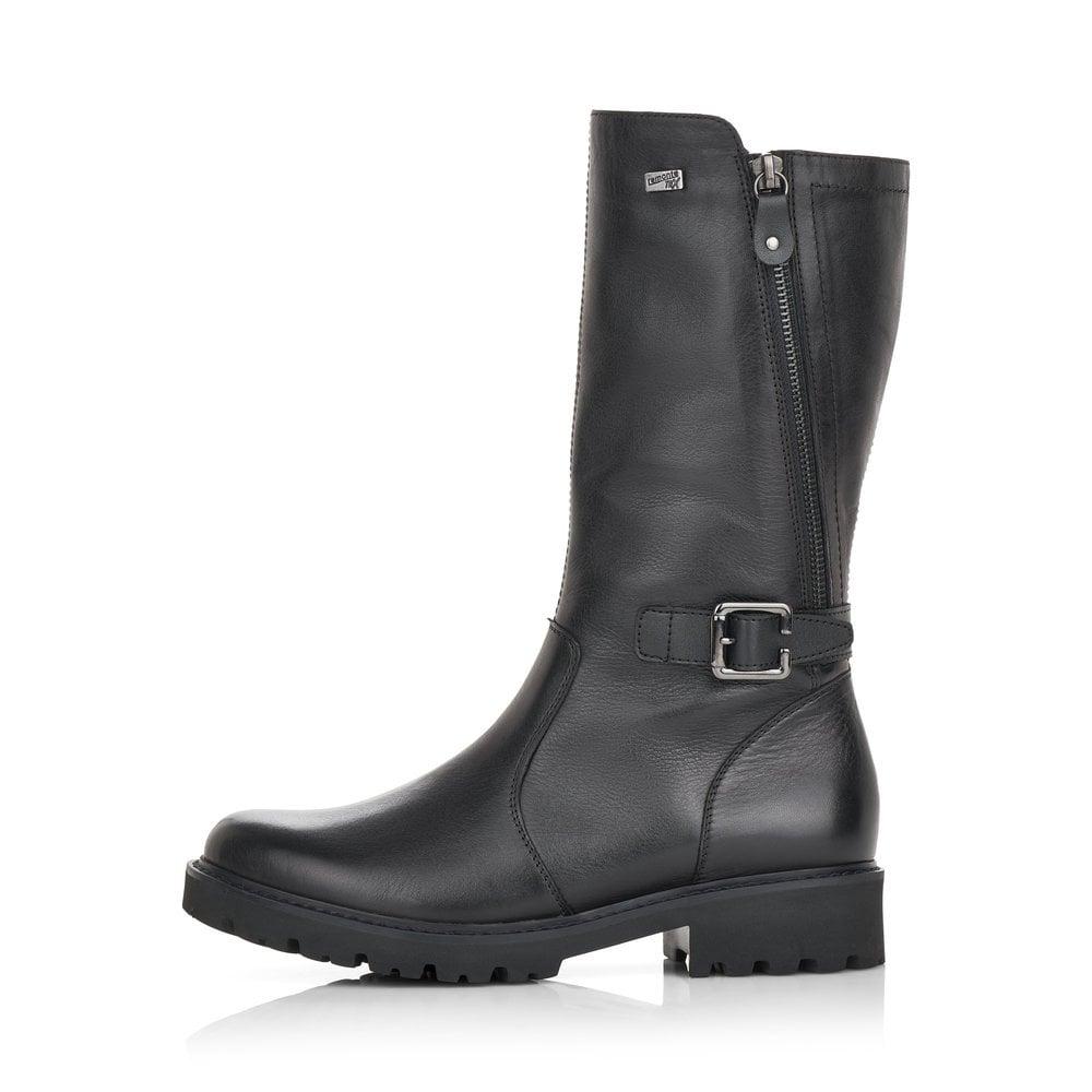 Remonte D8673-01 Ladies Black Mid Calf