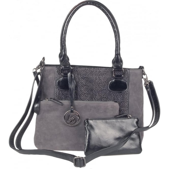Remonte Q0412-45 Ladies Grey Combination Zipper Bags