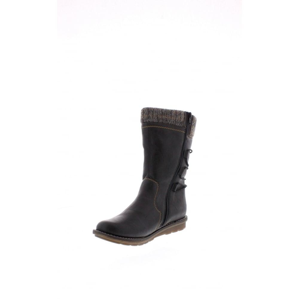 78e1f4ce5ea7b Remonte R1094-00 Womens black combination mid calf Rieker 'Tex' boots