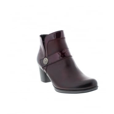 Remonte R1571-35 Ladies Red Combination Zipper ankleboots