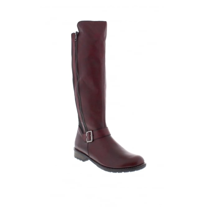 Remonte R3358-35 Womens burgundy red long leg boots