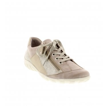R3419-81 Ladies Beige Combination Lace Up Shoes c81c1390c8