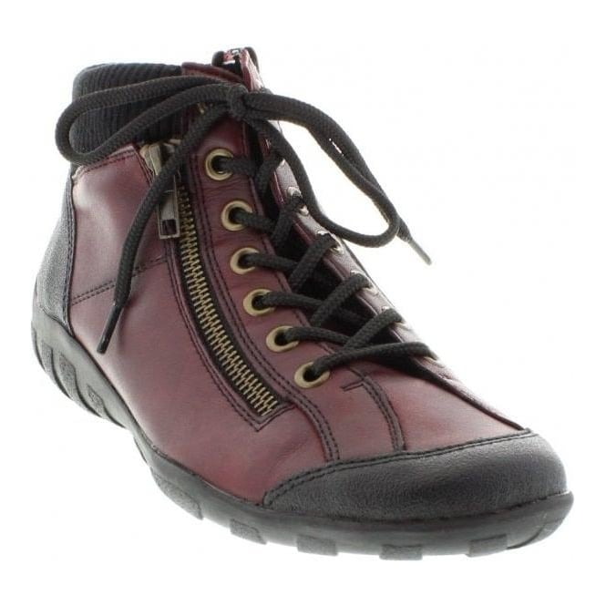 Remonte R3456-34 Ladies Red Combination Lace Up ankleboots