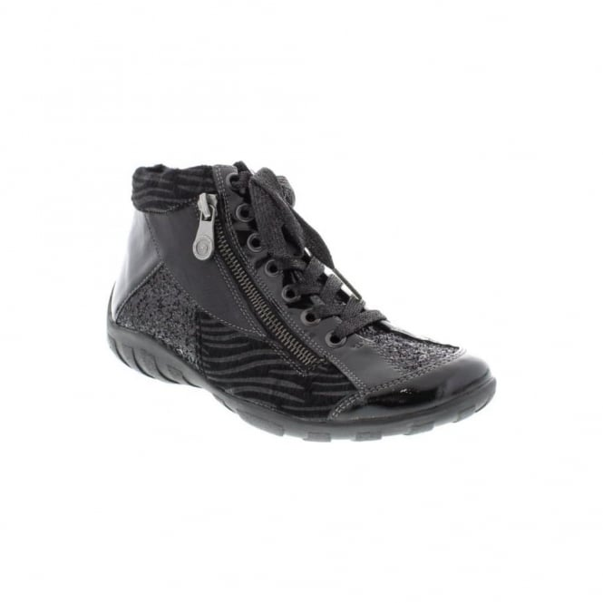 Remonte R3465-03 Ladies Black Combination Lace Up,Zip ankleboots