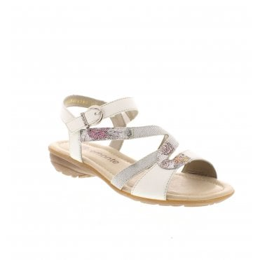 e32c83123bd R3651-80 Ladies White Combination Sandals
