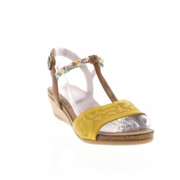 6adbaf0f R4459-68 Ladies Yellow Combination Sandals. Remonte ...