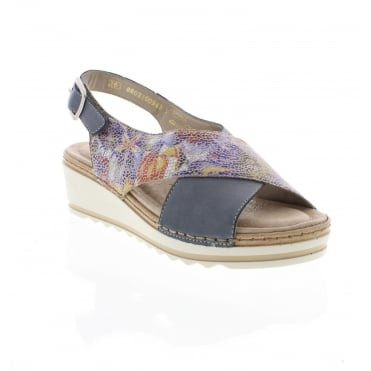 Remonte R6051-12 Ladies' blue combination Remonte Soft sandals