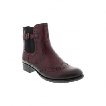 Remonte R6470-35 Ladies Red Combination Zipper ankleboots