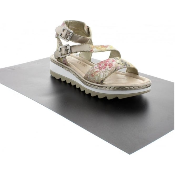 Remonte R7752-90 Ladies Multicoloured/Metallic Velcro, Buckle sandals