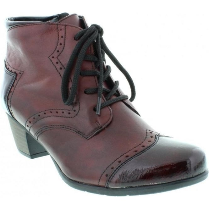 Remonte R9170-35 Ladies Red Lace Up ankleboots