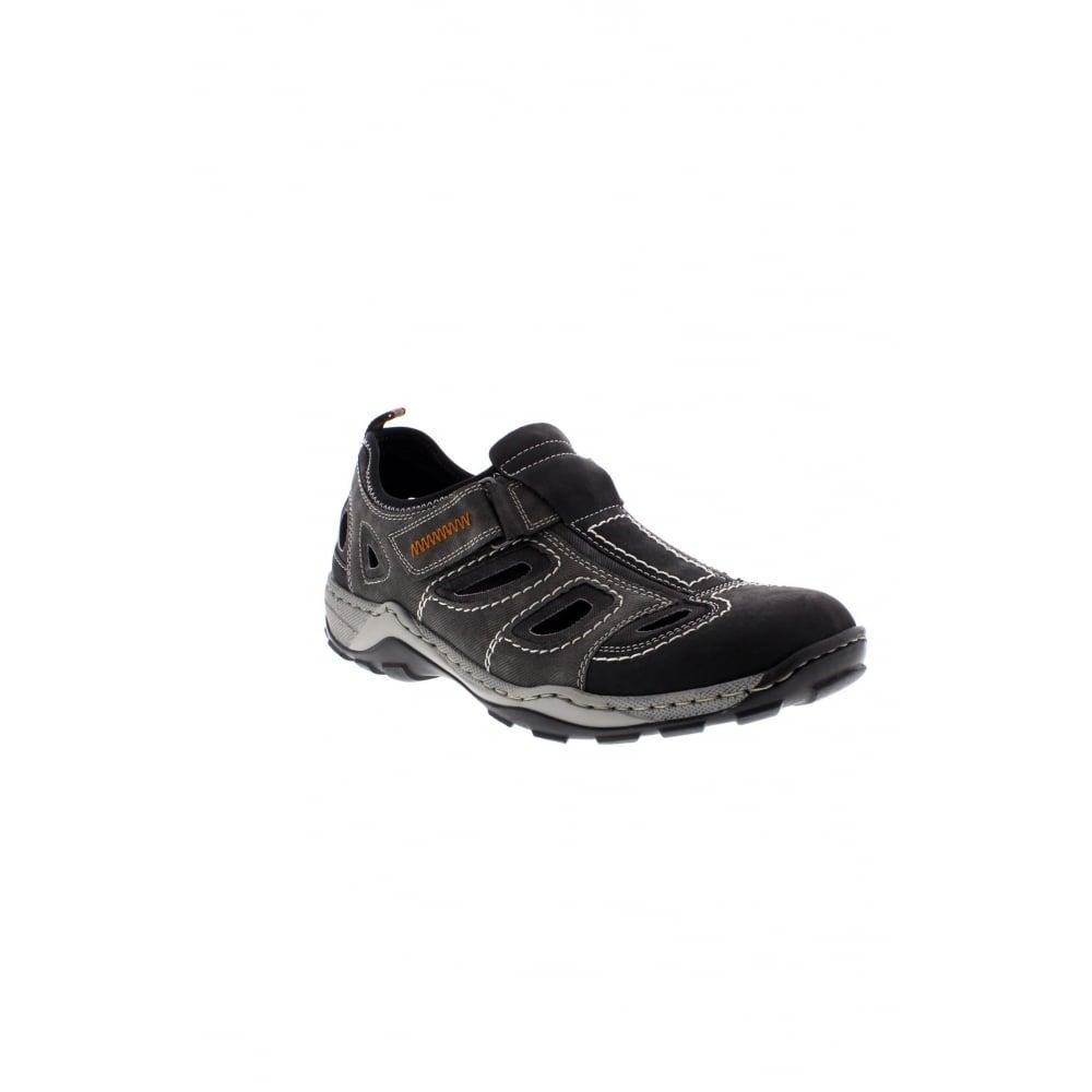 08075 03 hook and loop grey combination Men's shoes