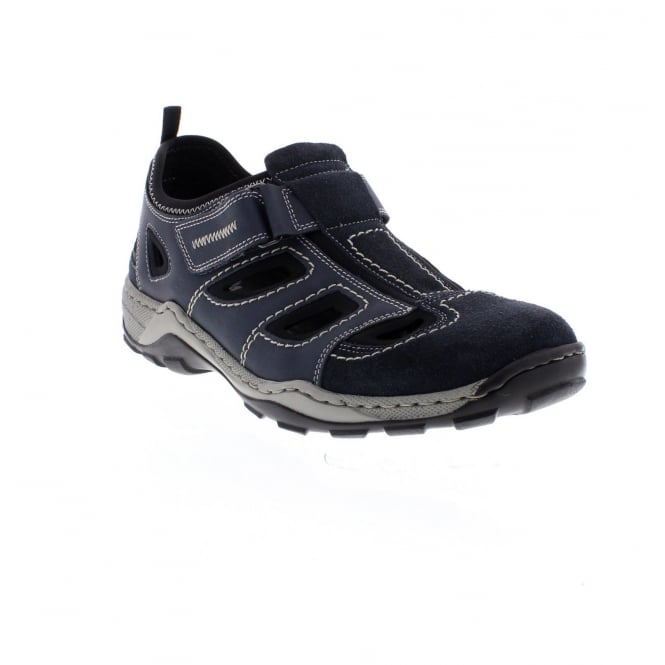 Rieker 08075-14 Men's hook and loop blue combination shoes