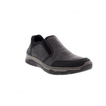 Rieker 16961-00 Mens Black Combination Slip on Shoe