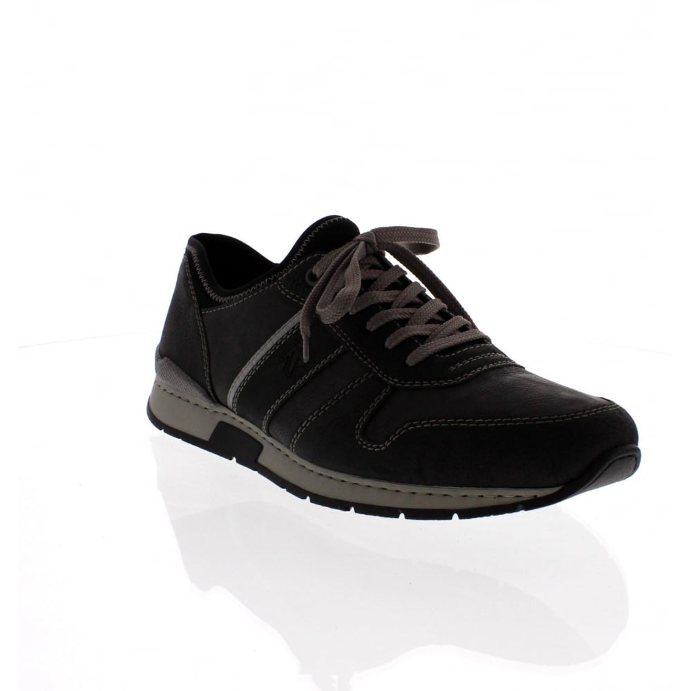 rieker 19400-01 mens black combination lace up shoe
