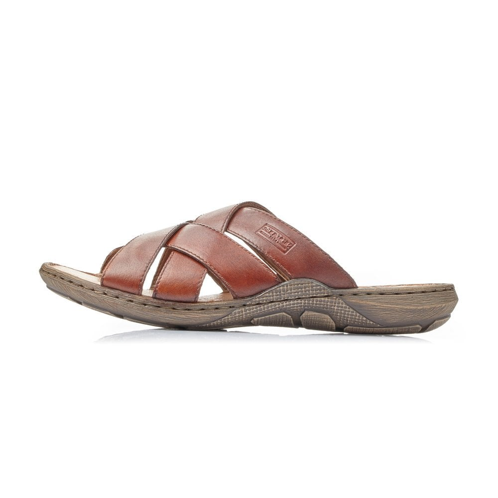 Mens Rieker 22098 Brown Leather Casual Slip On Mule Sandals