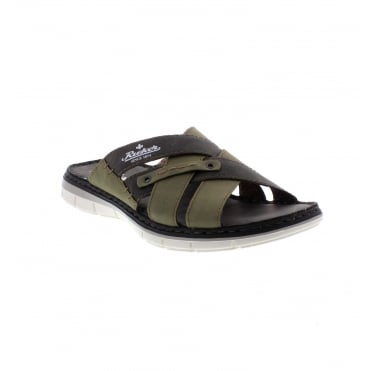 Rieker 25199-53 Men's green combination sandals