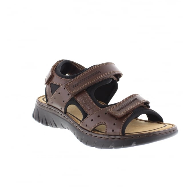Rieker 26757-27 Mens Brown Combination Velcro sandals
