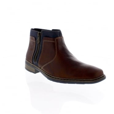 Rieker 30853-25 Mens Brown Combination Ankle Boot