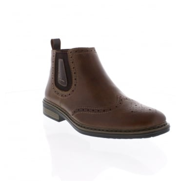 Rieker 37681-25 Mens brown brogue boot
