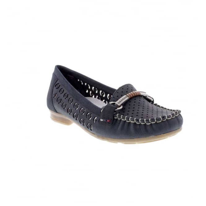 Rieker 40085-14 Ladies navy blue slip on shoe