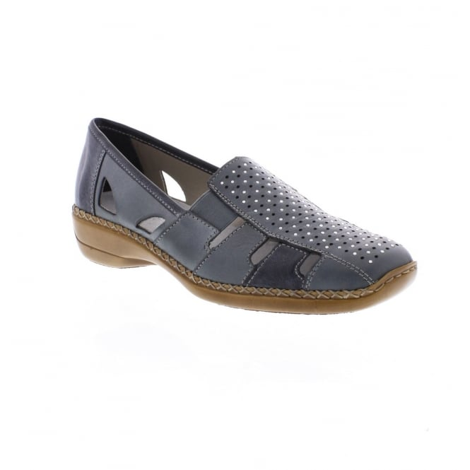 Rieker 41340-12 Ladies' slip on shoe in Blue