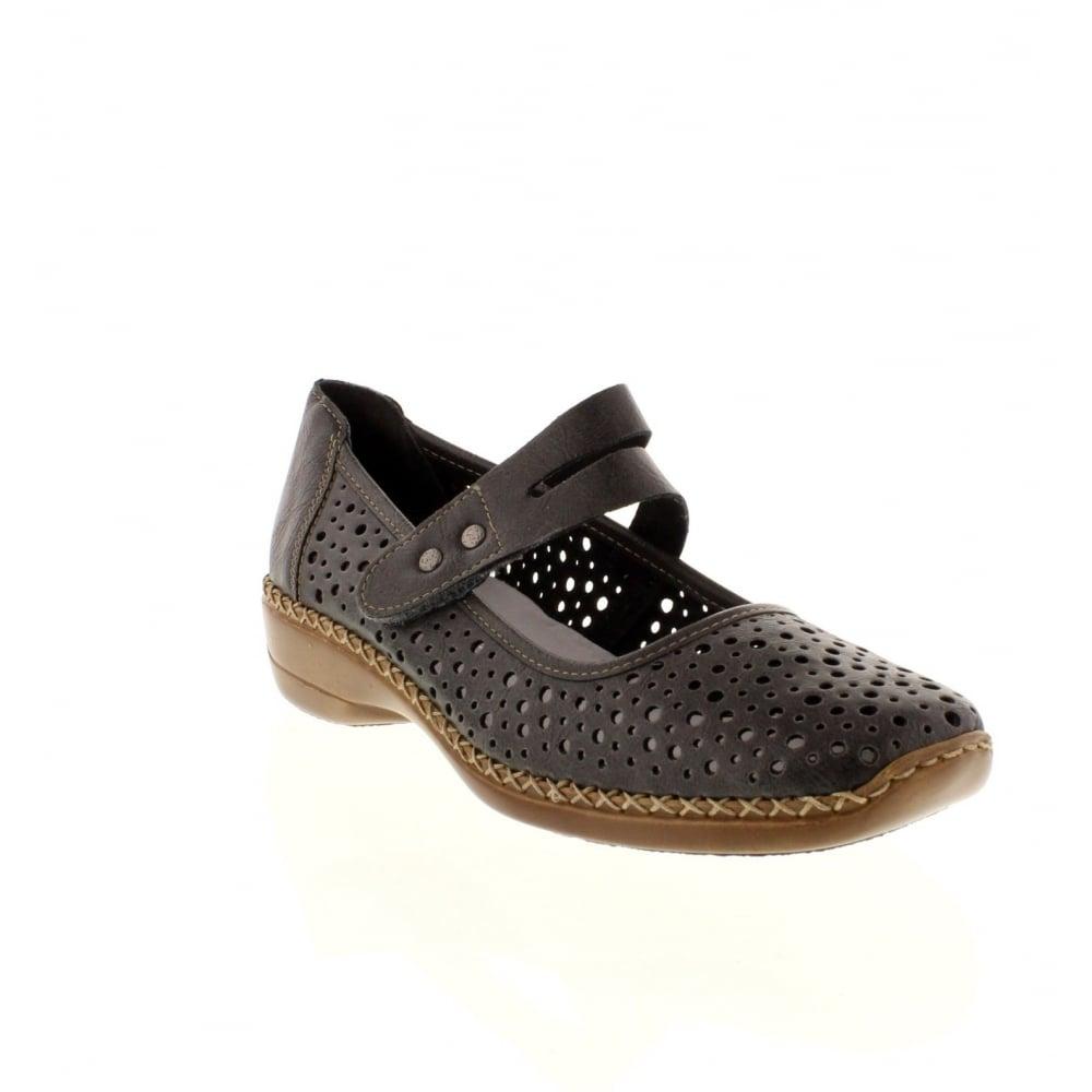 Rieker 41356 42 Ladies Grey Velcro Shoes Rieker Ladies