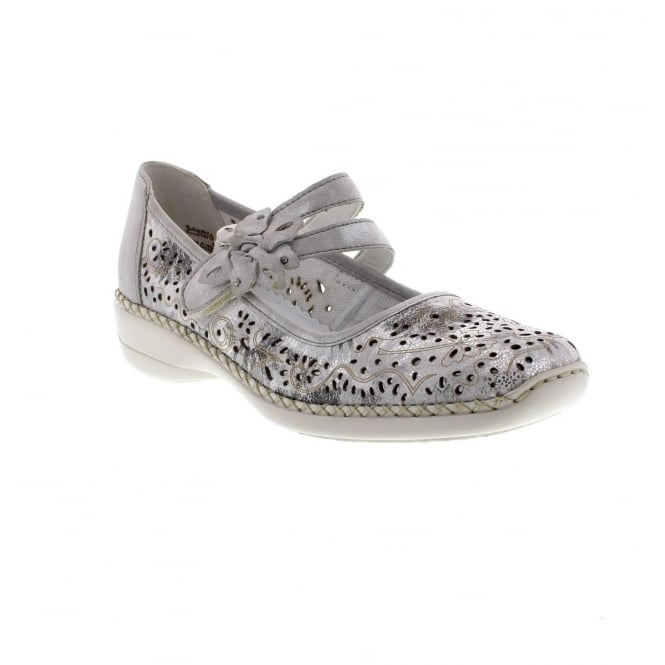 Rieker 41372-80 Ladies' Shoes in Metallic white and silver