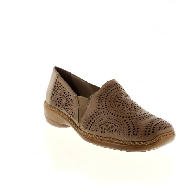 Rieker 41395-20 Ladies Brown Combination Slip on shoes