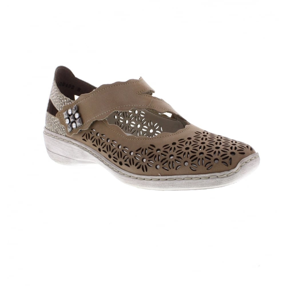 453ff369f0 Rieker 413G4-42 Ladies' Beige and Grey Combination shoes - Rieker ...