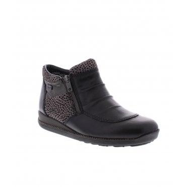 Rieker 44280-00 Ladies Black Combination Ankle Boots 9908ff3b11